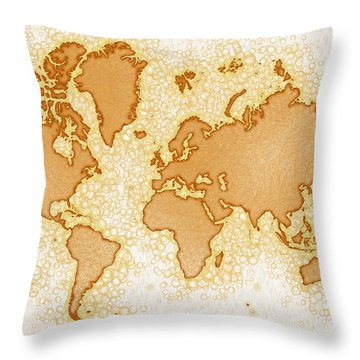 World Map Airy In Brown And White Throw Pillow