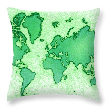 World Map Airy In Green And White Throw Pillow by Eleven Corners