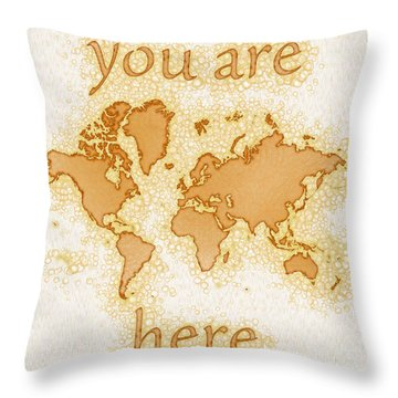 World Map Airy You Are Here In Brown And White  Throw Pillow