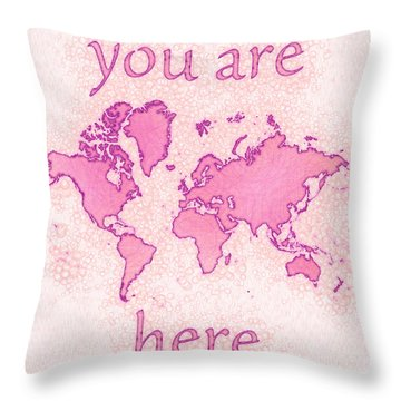 World Map Airy You Are Here In Pink And White Throw Pillow