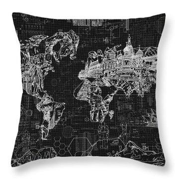 Throw Pillow featuring the digital art World Map Blueprint 2 by Bekim Art