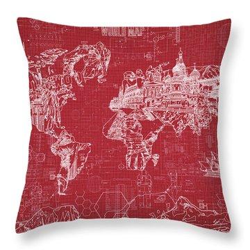 World Map Blueprint 3 Throw Pillow by Bekim Art