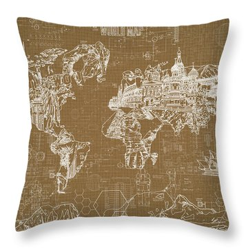 World Map Blueprint 4 Throw Pillow by Bekim Art