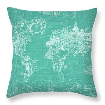 World Map Blueprint 7 Throw Pillow by Bekim Art