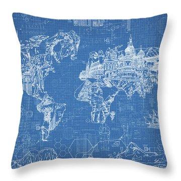 World Map Blueprint Throw Pillow by Bekim Art