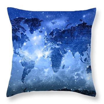 World Map Galaxy 9 Throw Pillow by Bekim Art