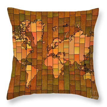 World Map Glasa Brown Orange Green Throw Pillow by Eleven Corners