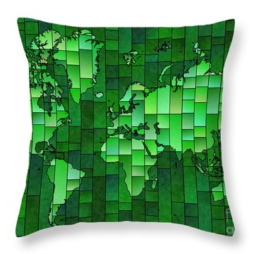 World Map Glasa Green Throw Pillow by Eleven Corners