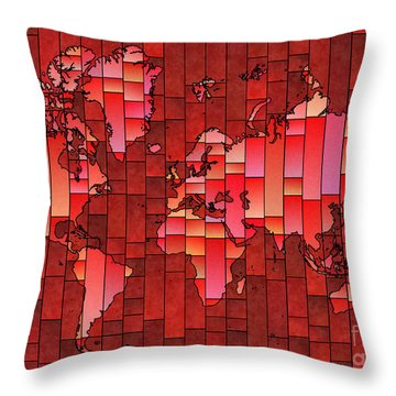 World Map Glasa Red Throw Pillow