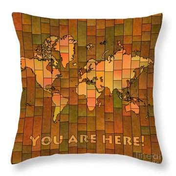 World Map Glasa You Are Here Brown Orange Green Throw Pillow