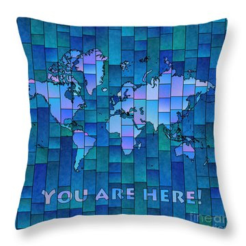 World Map Glasa You Are Here In Blue Throw Pillow