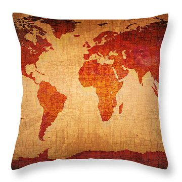 World Map Grunge Style Throw Pillow