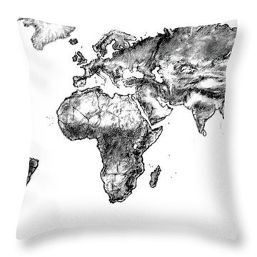 Throw Pillow featuring the drawing World Map In Graphite by Heidi Kriel