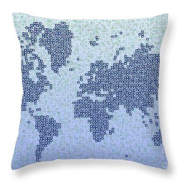 World Map Kotak In Blue Throw Pillow