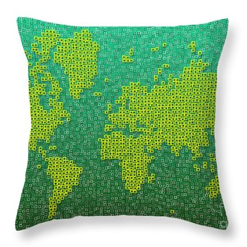 World Map Kotak In Green And Yellow Throw Pillow