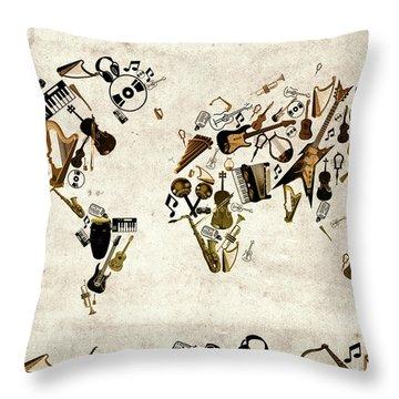 Throw Pillow featuring the digital art World Map Music 1 by Bekim Art