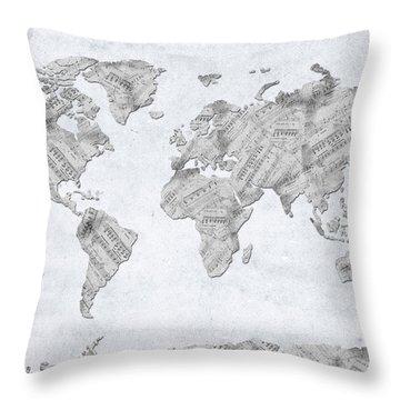 Throw Pillow featuring the digital art World Map Music 10 by Bekim Art