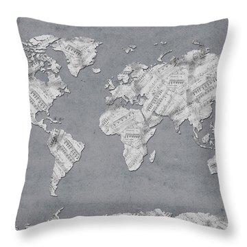 Throw Pillow featuring the digital art World Map Music 11 by Bekim Art