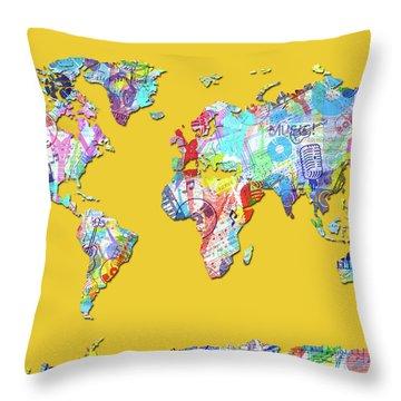 Throw Pillow featuring the digital art World Map Music 13 by Bekim Art