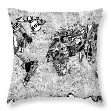 Throw Pillow featuring the digital art World Map Music 2 by Bekim Art