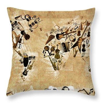 Throw Pillow featuring the digital art World Map Music 4 by Bekim Art