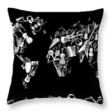 Throw Pillow featuring the digital art World Map Music 5 by Bekim Art