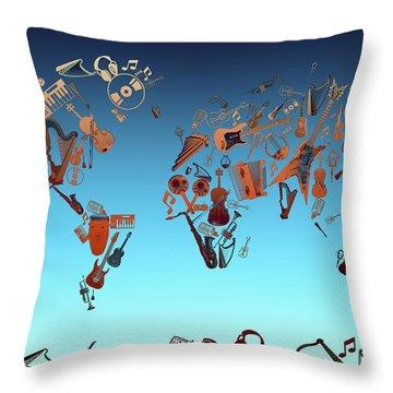 Throw Pillow featuring the digital art World Map Music 6 by Bekim Art