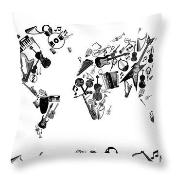 Throw Pillow featuring the digital art World Map Music 7 by Bekim Art