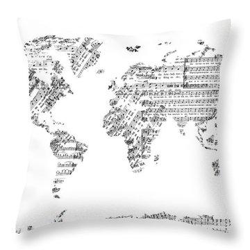 Throw Pillow featuring the digital art World Map Music 8 by Bekim Art