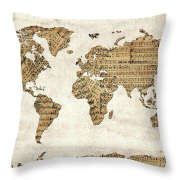 Throw Pillow featuring the digital art World Map Music 9 by Bekim Art