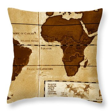 World Map Of Coffee Throw Pillow