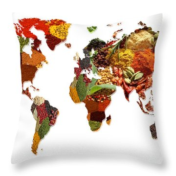 World Map Of Spices And Herbs  Throw Pillow