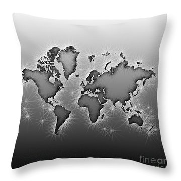 World Map Opala In Black And White Throw Pillow