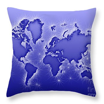 World Map Opala In Blue And White Throw Pillow