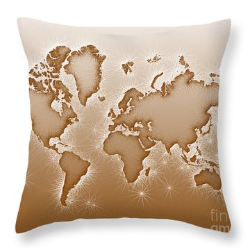World Map Opala In Brown And White Throw Pillow