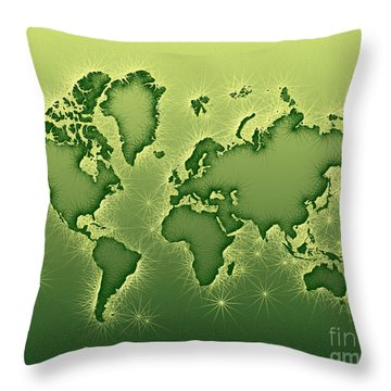 World Map Opala In Green And Yellow Throw Pillow