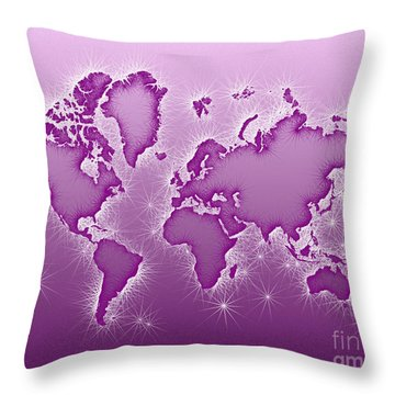 World Map Opala In Purple And White Throw Pillow