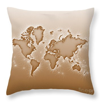 World Map Opala Square In Brown And White Throw Pillow