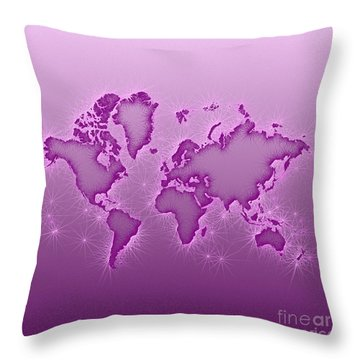 World Map Opala Square In Purple And Pink Throw Pillow