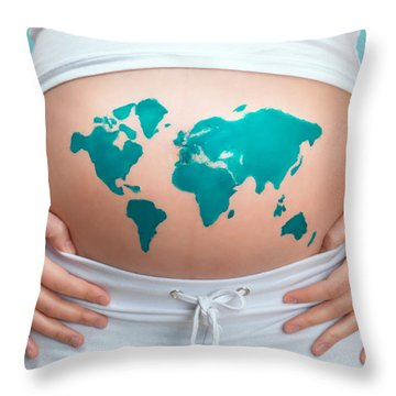 World Map Painted On Pregnant Woman's Belly Throw Pillow by Oleksiy Maksymenko
