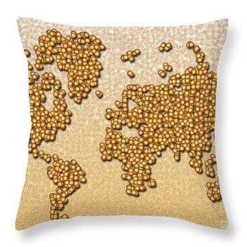 World Map Rolamento In Yellow And Brown Throw Pillow