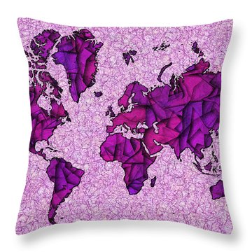 World Map Takkede In Purple Throw Pillow by Eleven Corners