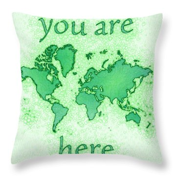 World Map You Are Here Airy In Green And White Throw Pillow