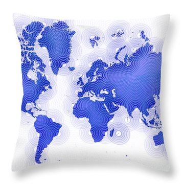 World Map Zona In Blue And White Throw Pillow