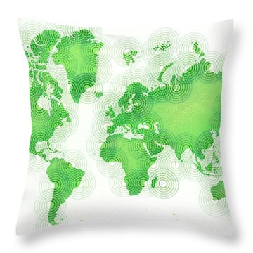 World Map Zona In Green And White Throw Pillow