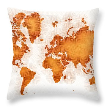 World Map Zona In Orange And White Throw Pillow