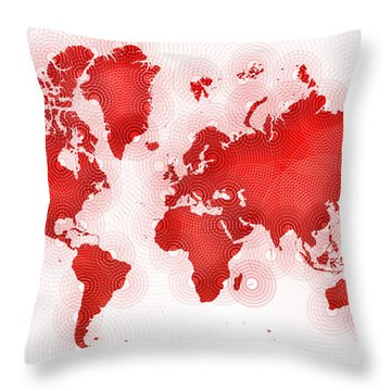 World Map Zona In Red And White Throw Pillow