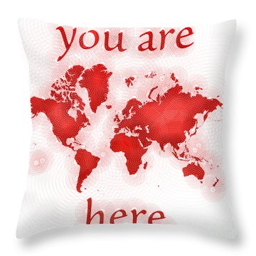 World Map Zona You Are Here In Red And White Throw Pillow