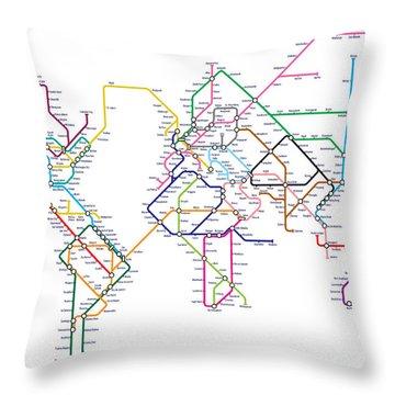 World Metro Tube Map Throw Pillow