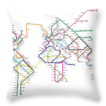 World Metro Tube Subway Map Throw Pillow
